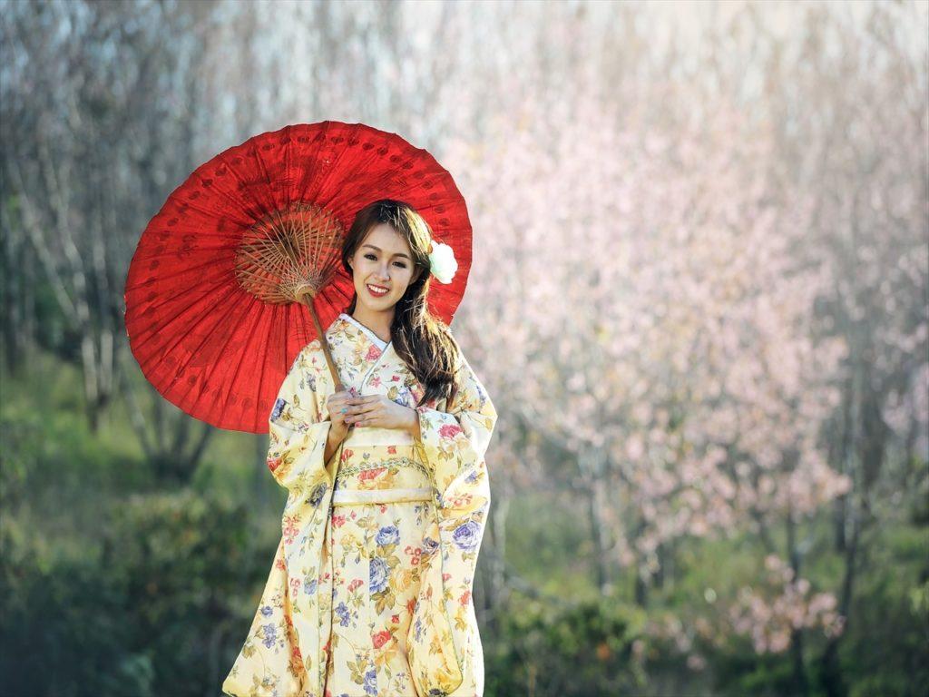 日本,女性,和傘